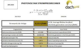 Dachgold 280 Strompreisrechner Screenshot inkl